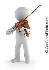 小さい, バイオリン, 3d, -, 人々