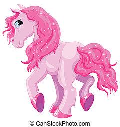 小さい, ピンク, 子馬