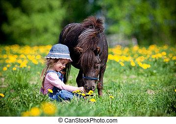 小さい, フィールド, 馬, 子供