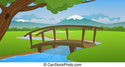 小さい, 木製の橋
