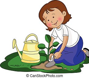 小さい, 植えつけ, 女の子, ベクトル, plant.