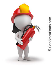 小さい, 消防士, -, 3d, 人々