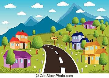 小さい, 田園, 町の景色