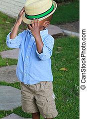 小さい 男の子, 帽子, 黒