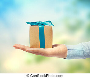 小さい, 箱, 贈り物, 手