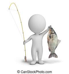小さい, -, 3d, 漁師, 人々