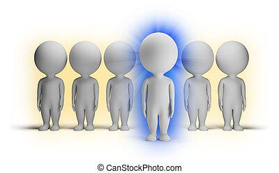 小さい, -, 3d, 藍色, 人々