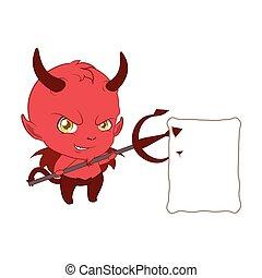小悪魔, の上, 干し草用フォーク, メモ, 彼の, 保有物