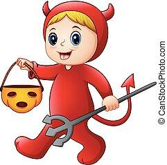 小悪魔, ハロウィーンの衣装, 女の子, 赤