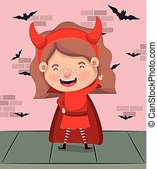 小悪魔, 壁, 飛んでいるバット, 衣装, 女の子