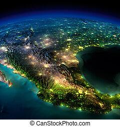 小片, 北, メキシコ\, -, 夜, アメリカ, earth.