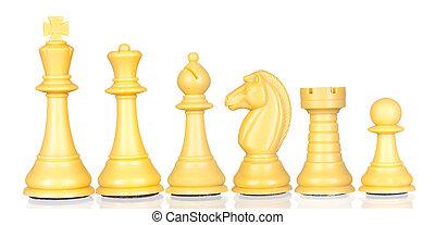 小片, 減少, チェス, 順序, 白