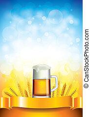 小麦, ビール, フィールド, 大袈裟な表情をしなさい, ベクトル, 背景