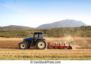 小麦, フィールド, シリアル, 農業, 耕す, トラクター