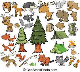 屋外, 野生生物, ベクトル, セット, キャンプ