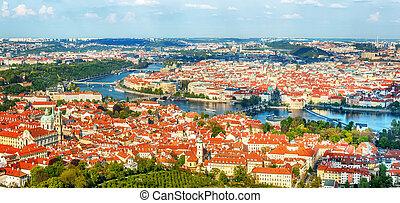 屋根, チェコ共和国, 赤, プラハ