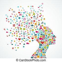 層, 頭, 概念, シルエット, illustration., eps10, アイコン, 媒体, 組織化された, ベクトル, editing., 女, 容易である, 社会, ファイル, 作られた, はね返し