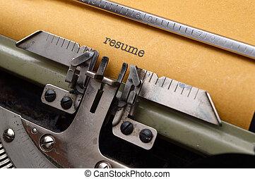 履歴書, タイプライター