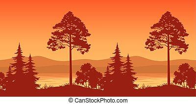 山の景色, seamless, 木, 湖, 銀行