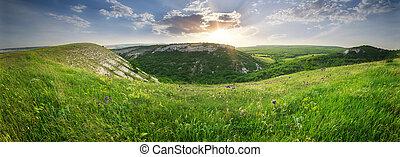 山のpanorama, 景色。