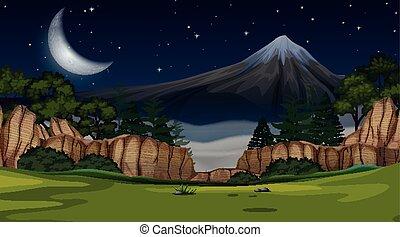 山光景, 現場, 夜