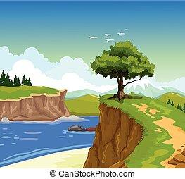 山湖, 背景, 崖