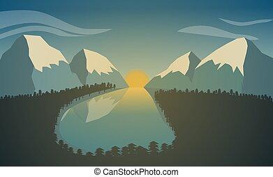 山湖, forest., 日の出, 風景, 山。