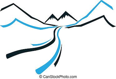 山, アイコン, 谷, 道, ロゴ