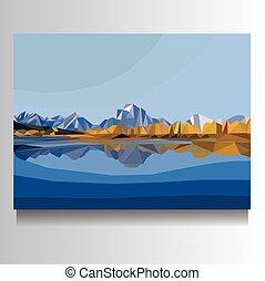 山, キャンバス, ベクトル, 風景, イラスト