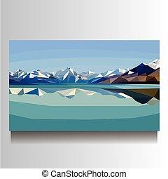 山, キャンバス, 写真レーク, イラスト, 風景