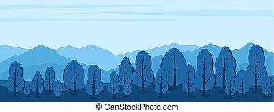 山, シルエット, 風景, 木, 前景