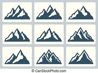 山, セット, シルエット, 範囲, ベクトル, アイコン