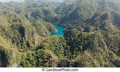 山, フィリピン, palawan., 島, kayangan, 湖, トロピカル, coron