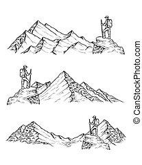 山, ベクトル, 引かれる, イラスト, 手