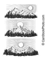 山, ベクトル, 手, 引かれる, イラスト