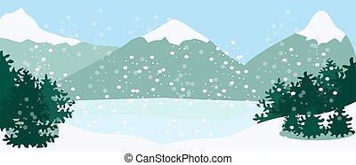 山, モミ, 冬ツリー, 風景