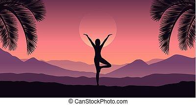 山, ヨガ, 紫色, トロピカル, 色, 赤, 女の子, 作り, 風景