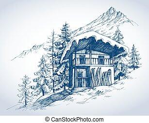 山, リゾート, 小屋, スキー