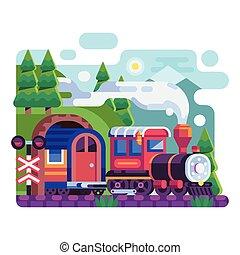 山, ワゴン, レトロ, 機関車, 古い