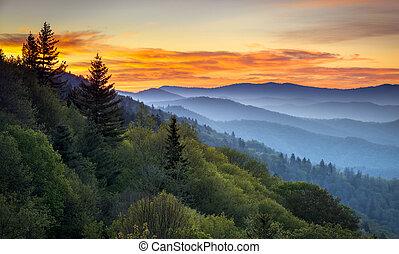 山, 偉人, 見晴らし場, cherokee, 景色, 煙が多い, nc, 公園, gatlinburg, tn, 日の出, ∥間に∥, oconaluftee, 国民, 風景