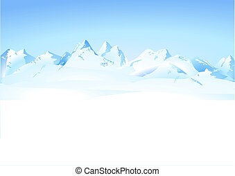山, 冬, パノラマ