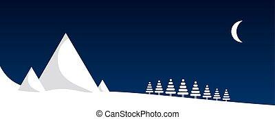 山, 冬, 夜