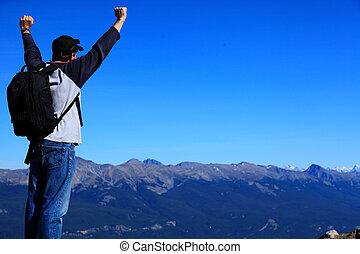 山, 喜び, 範囲, 勝利, yhiker, 感じ