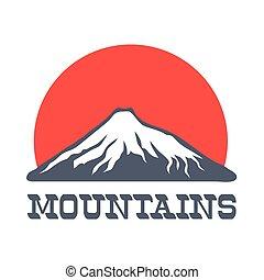 山, 太陽, イラスト, ベクトル, ロゴ, アイコン