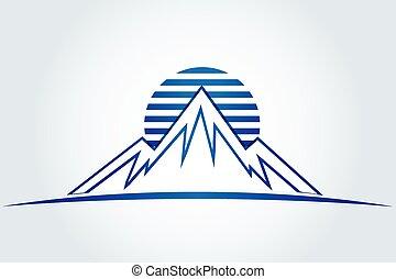 山, 太陽, ベクトル, アイコン, ロゴ