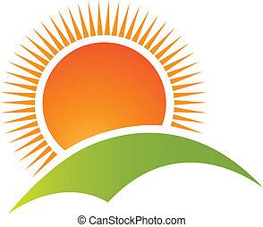 山, 太陽, ロゴ, ベクトル, 丘