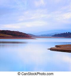 山, 寒い, 湖, 風景, atmosphere.