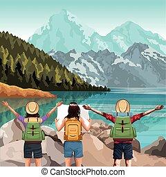 山, 旅行者, 友人, 風景, 湖, 美しい