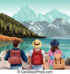 山, 旅行者, 風景, 湖, 美しい, バックパック
