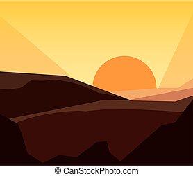 山, 日没, 自然, 風景